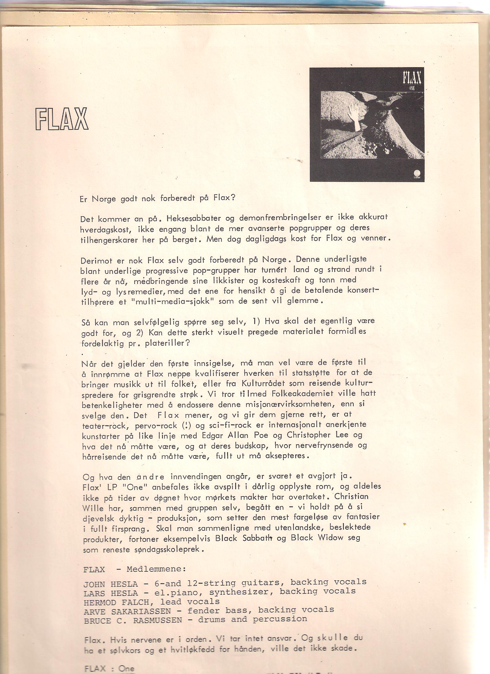 Flax One 1976
